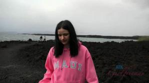 The rain doesn't keep you and Violet from exploring the lava flow